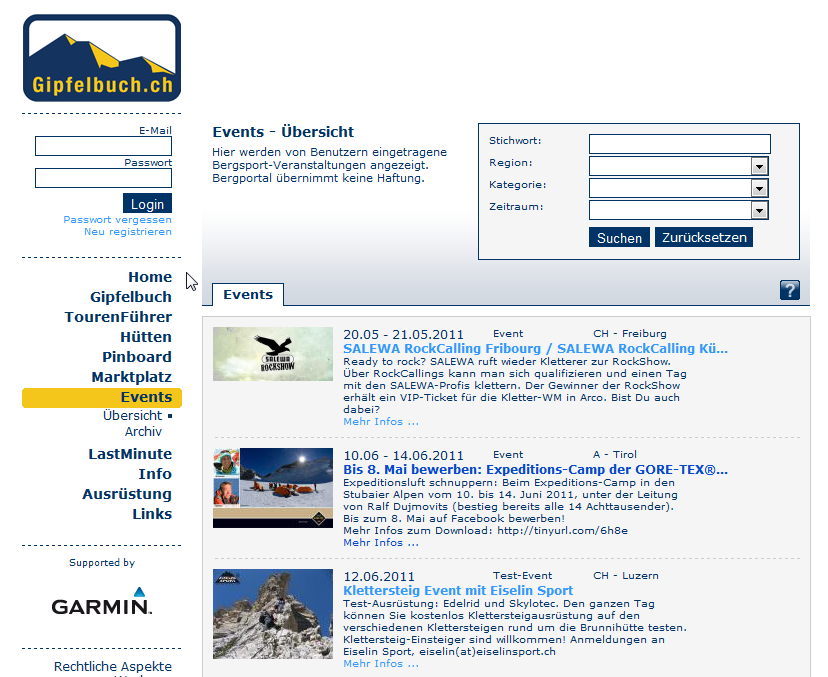 Media Data 2014 (English) 7 Advertisement in the Events Section Advertise an event in our Events Section The Events section lists outdoor events, competitions, presentation and new alpine