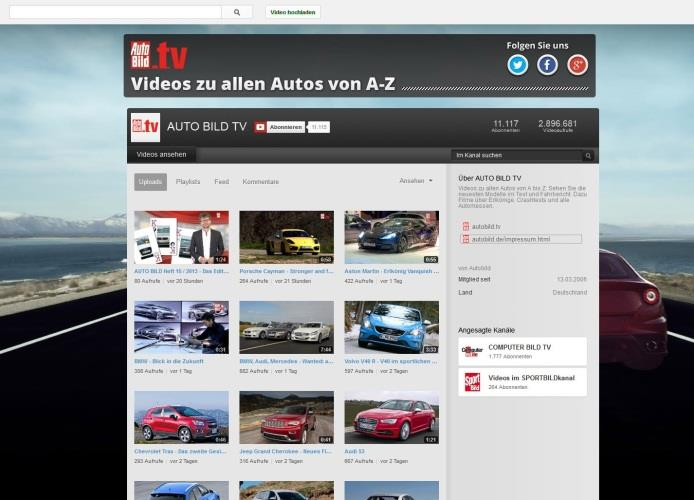 autobild.tv Videos auf autobild.de + YouTube-Channel Kennzahlen: autobild.de/video: Videos Views (Monat) 1 : 1 Mio. Aufrufe autobild.tv-youtube-channel (gesamt) Videos in HD: 2.200 Abonennten: 83.