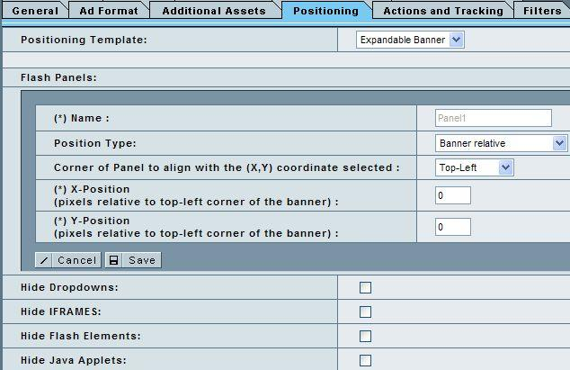 Panel positionieren Actions and Tracking: