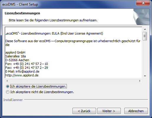 5. Windows Installationen Abbildung 5.61: Startfenster ecodms 7.