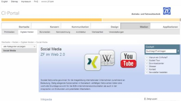 0) Wikis (Interne Zusammenarbeit) ZF Social Media Guideline (in
