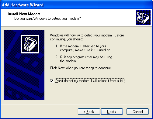 English 3. Windows XP/2000: Click the Modems tab and the Add button. 4. Windows 98 SE: Select Other and click Next. 5.