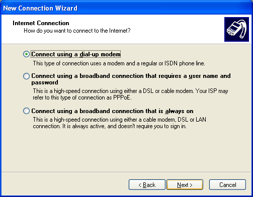 English 3. Select Connect to the Internet and click Next. 4. Select Dial-up connection and click Next. 5.