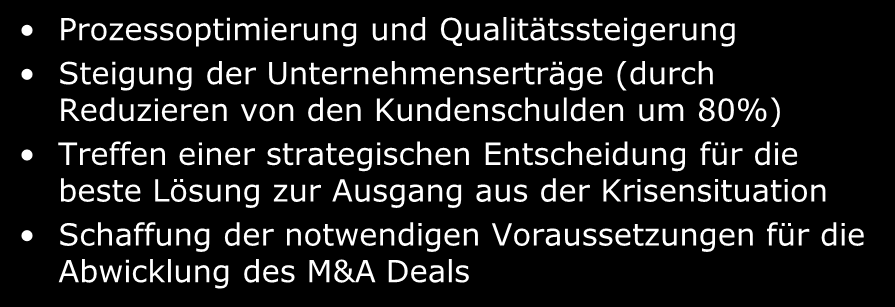 Success Stories nach M& Phasen (uszug) Restrukturierung einer Firma zur Vorbereitung für ein M& Deal Strategic Rational Finding Deal xecution Post-Merger Integration ls Krisenmanagement Massnahme
