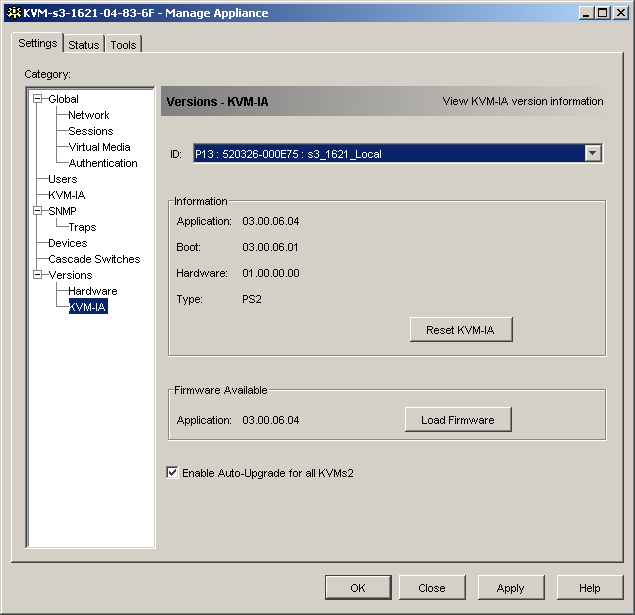 Using the KVM s3 Client Appliance Management Panel Figure 33: KVM-IA upgrade Enable the checkbox next to Enable Auto-Upgrade for all KVM-IAs.