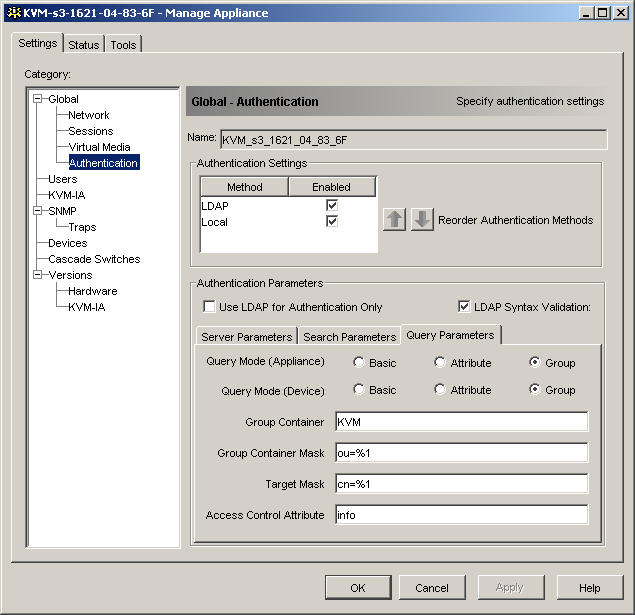 Using the KVM s3 Client Appliance Management Panel Figure 23: LDAP Query Parameters tab You can configure the following settings in the Query Parameters tab: The Query Mode (Appliance) parameters