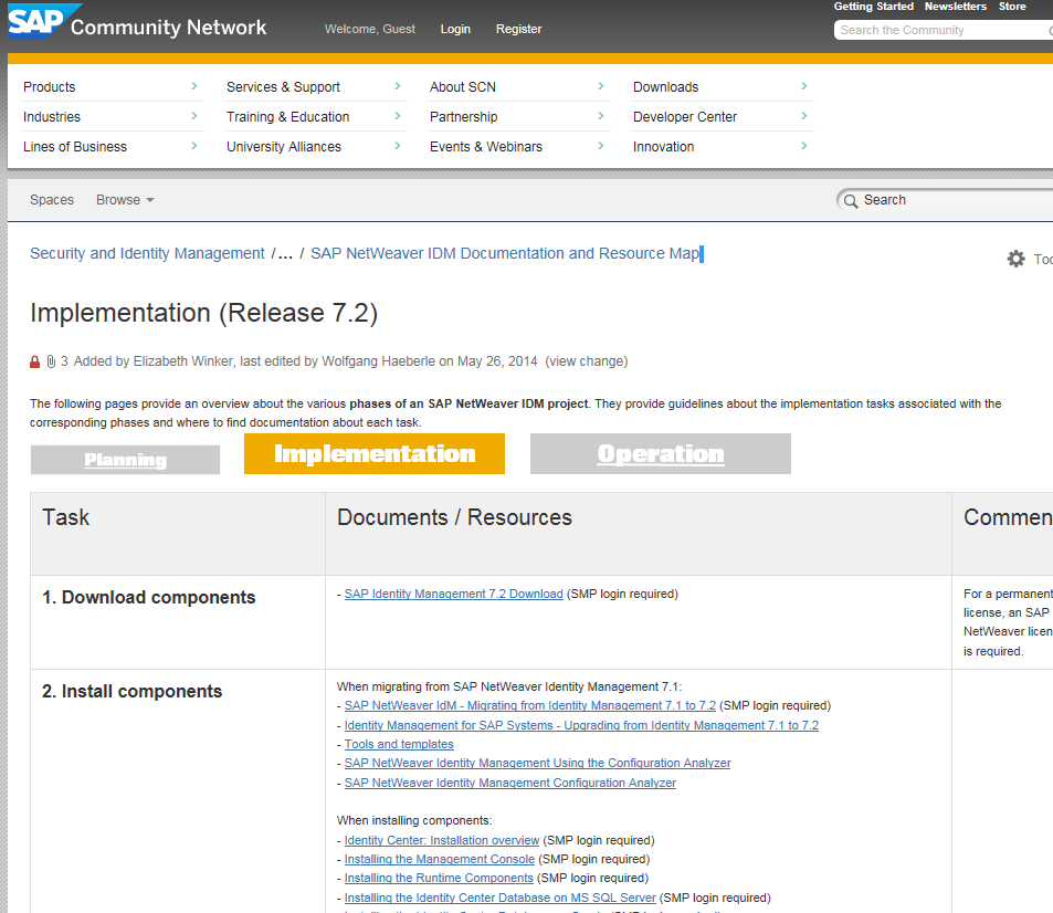 Weiterführende Informationen SAP NetWeaver IDM Documentation and