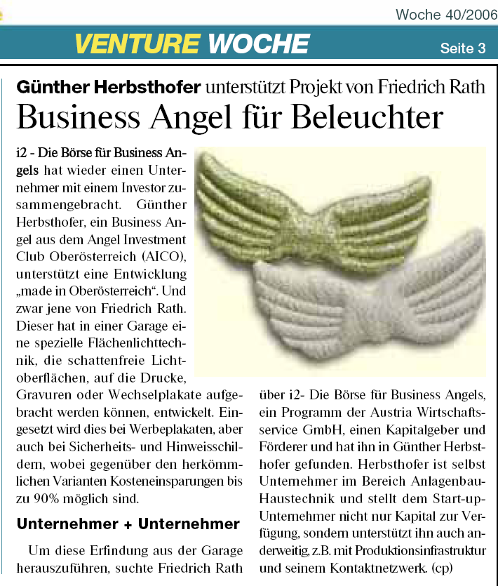 Erstes Investment in 2007 i2b-projekt an Angels