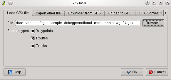 Abbildung 15.1: The GPS Tools dialog window file (from your GPS unit or a web site) and then loading it in QGIS, be sure that the data stored in the GPX file uses WGS84 (latitude/longitude).