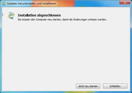 2.2 Installation von Windows6.1-KB958559-x64.msu Nach Abschluss der Installation von WindowsXPMode_de-de.