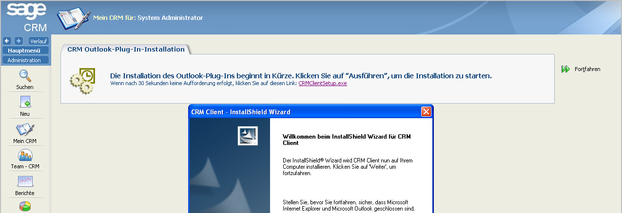 Neues Outlook-Plug-In Neuer InstallShield Wizard (selbstextrahierende