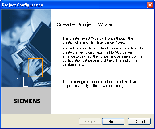 Preface 1.4 Creating a new Plant Intelligence Project Figure 1-1 Starting the Create Project wizard. 4.