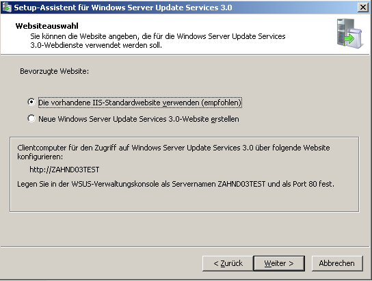 6 Windows Server Update Services 3.0 5. Datenbank auswählen 6. Standardmässig bietet das WSUS Setup an, die «Windows Internal Database» auf dem Server zu installieren.