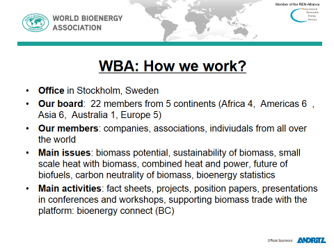 World Bioenergy Association (WBA) World Bioenergy Association