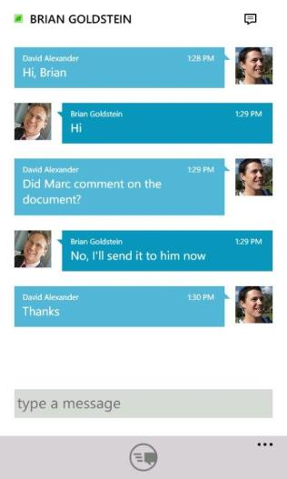 Mobile client experiences designed for the device Lync is