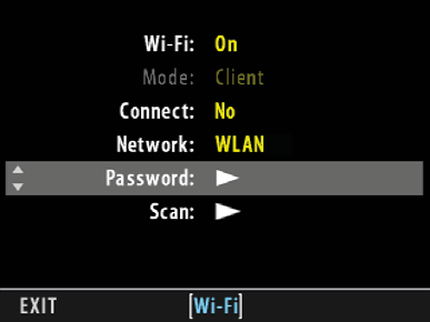 characters 1 including the current WLAN-VERBINDUNG (nur H5D-50c mit WLAN-Funktion) FORTSETZUNG WIFI > WIFI ON > PASSWORD Bei einem passwortgeschützen Netzwerk mit WPA- oder WPA2-Verschlüsselung muss