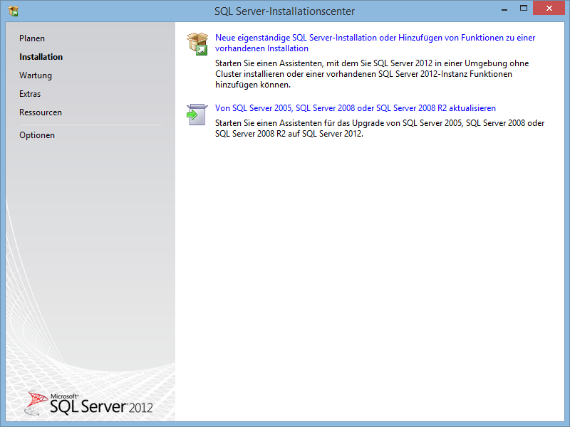 SQL Server Neuinstallation USB-Stick Verzeichnis: \Software\SQL Tools\SQL Server Express 2012