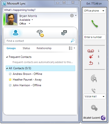 ALU & LYNC INTEGRATION Auf END-USER Sicht Dedizierte Lync add-on durch Alcatel-Lucent geliefert Active