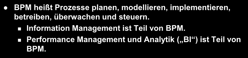 Prozess- und Information Management der Soll- Zustand implementieren, betreiben Business Process Management modellieren Information Management Performance Management planen, überwachen & steuern BPM