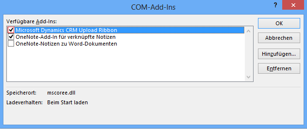 Ob das Add-In Microsoft Dynamics CRM Upload Ribbon aktiviert ist.