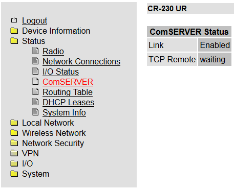 Status ComSERVER Status (optional) oder Status ComSERVER ComSERVER Link TCP Remote Baud Rate Data
