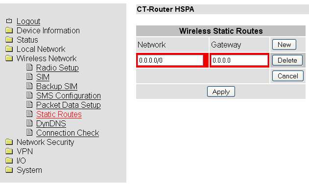 Wireless Network Static Routes Wireless Network Static Routes Static Routes Network