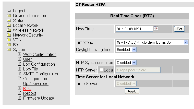 System RTC System RTC RTC New Time Timezone Daylight saving time NTP Synchronisation NTP Server Time Server Manuelle Zeitkonfiguration, falls kein NTP-Server vorhanden ist.