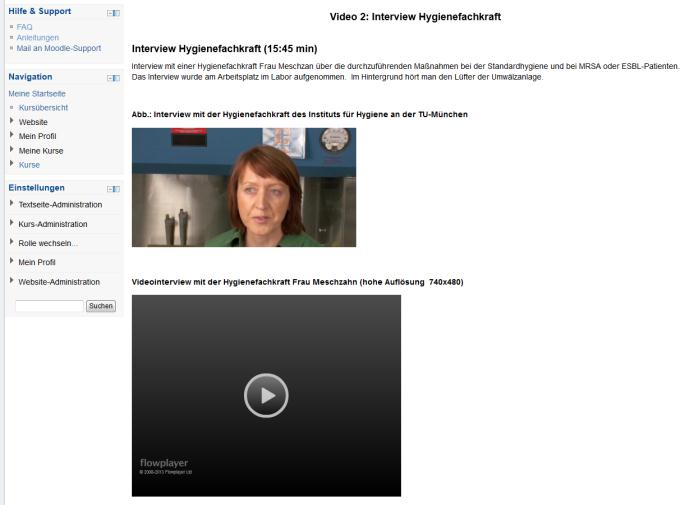 Bereitstellung von Videos Einbettung in Moodle Wowza Streaming Server 25.