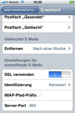 Sicherstellen, dass der Server-Port : 993