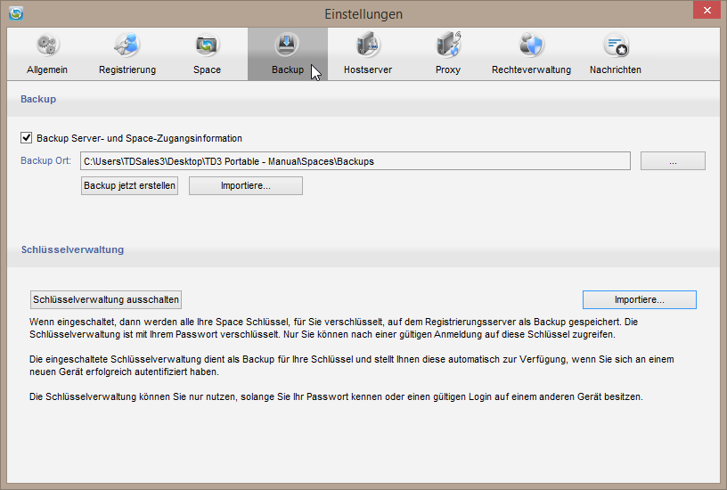Einstellungen > Backup > Key Repository 6.