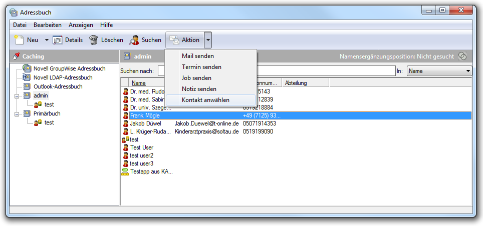 Integration in Groupwise (Version 6.5, ab 7.