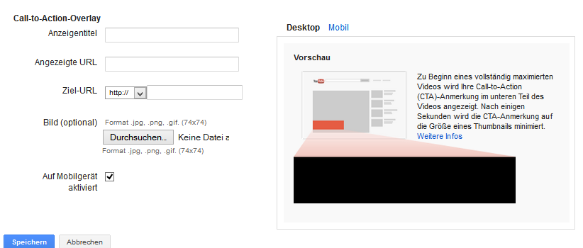 V. Call-to-Action Overlays einstellen Wenn das AdWords-Konto mit dem YouTube Kanal