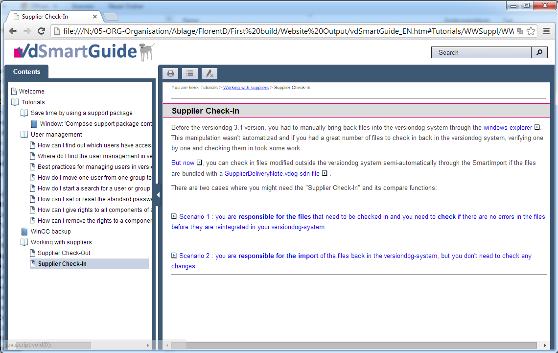 vdsmartguide Online documentation and