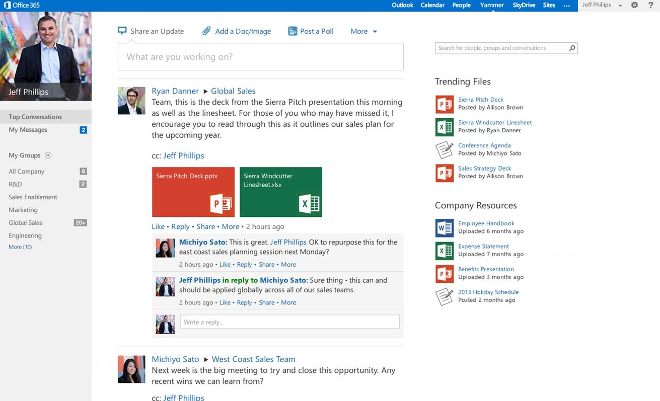 Option to replace SharePoint newsfeed