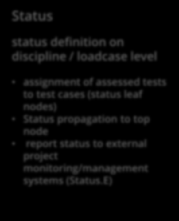 CAViT: GUI Overview IV Property panel Status status definition on discipline / loadcase level assignment of assessed tests to test cases (status leaf nodes) Status propagation to top node report