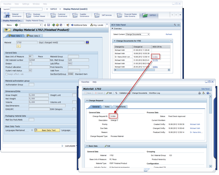 Integration BCV - Business Context Viewer Side Panel (MDG View) Anzeige PLM Daten