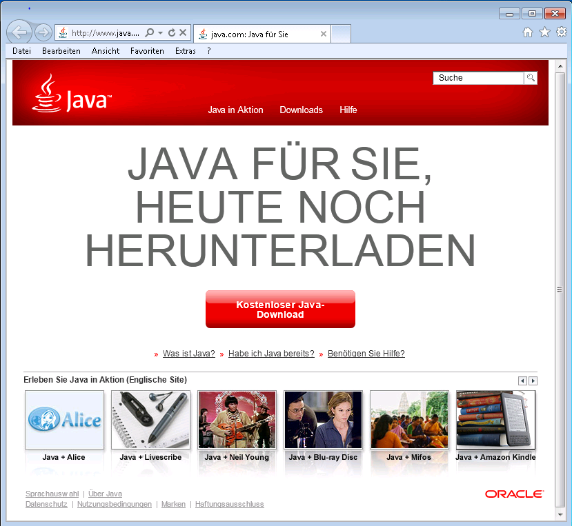 Installation Java Runtime Environment (Oracle Corporation) Nach