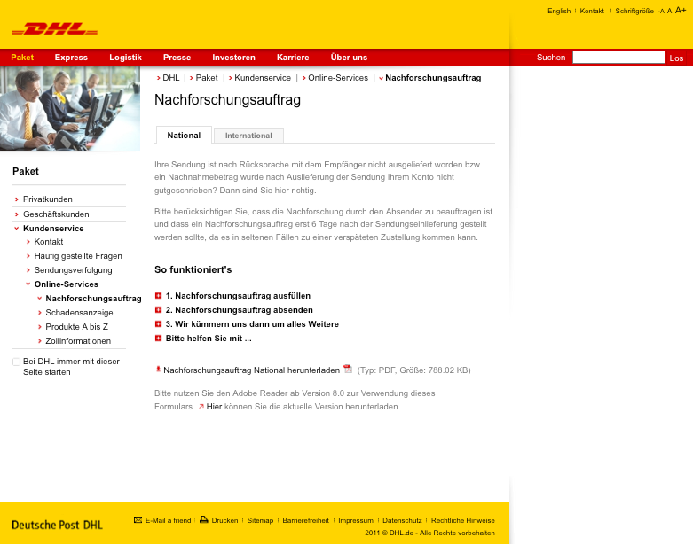 dhl einzelabholung tracking support. Black Bedroom Furniture Sets. Home Design Ideas