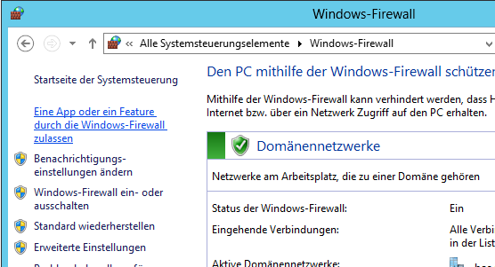 Steuerungselement Windows-Firewall: Klicken Sie