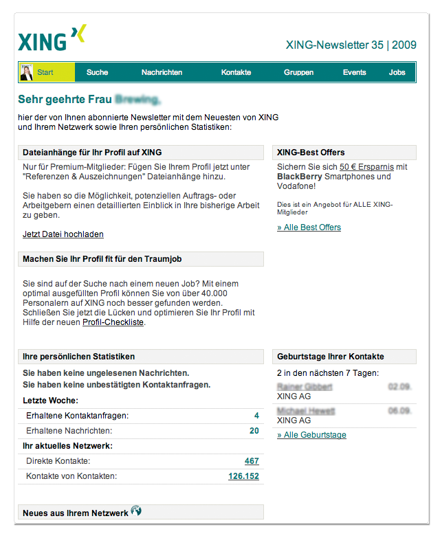 XING Best Offers-Spezifikationen XING Statistik-Newsletter Best Offers-Box