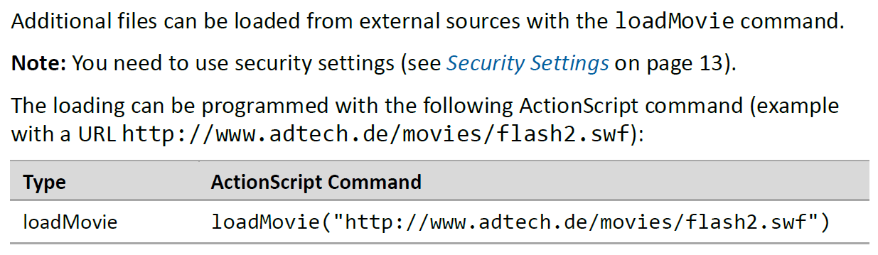 Flash Functions for Loading Additional