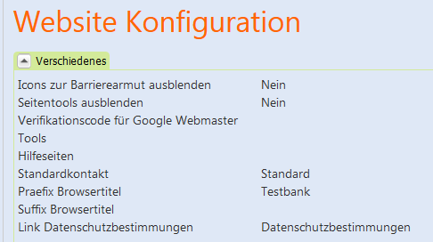 Wichtige Konfigurationen im webcenter // 43 3.2.9. Website In diesem Konfigurationsdokument hinterlegen Sie zum eispiel Ihr Logo und das Favicon oder richten den Log-in- ereich ein.