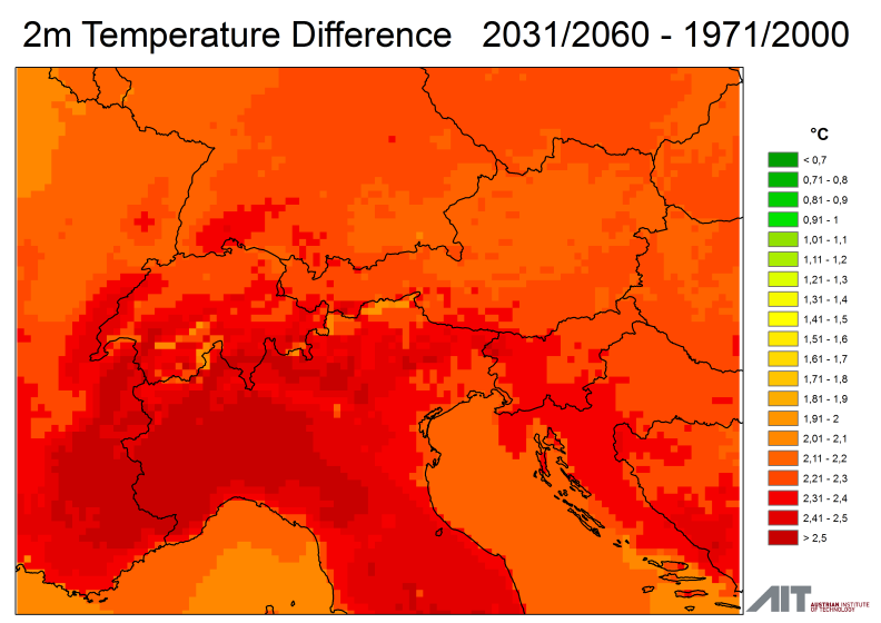 Temperatur-Differenz: 30-Jahresmittel 1971/2000 vs.