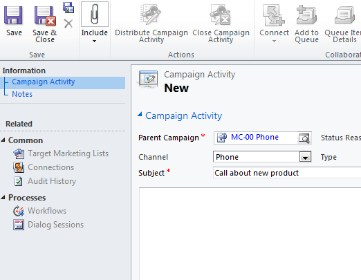 Populate the fields with the given information and click Save in Ribbon: Click