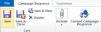 Click Convert Campaign Response in the Ribbon: Select Create a new record for a
