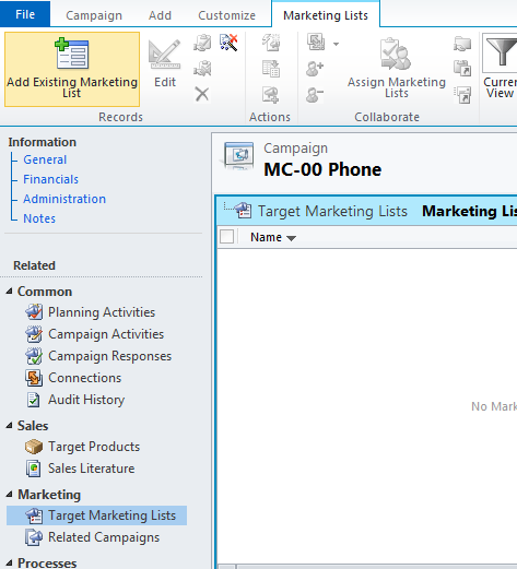 Select Target Marketing Lists in Entity Navigation Pane and click Add