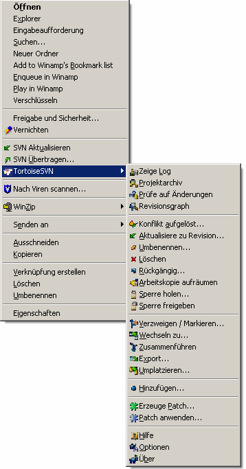 5. Integration in Windows Explorer / Kontext-Menu und Bedeutung der Icons im Explorer. Tutorial TortoiseSVN ist den Windows Explorer integriert.
