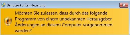 4. Installation unter Windows Vista / Windows 7 4.1 Starten Sie die Datei mit dem Namen HAEV-Installer.exe. 4.2 Windows stellt für gewöhnlich eine Abfrage bezüglich der Benutzerkontensteuerung her.