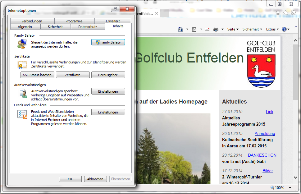 Internet Explorer (Windows) Einstellung