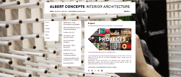 ALBERT CONCEPTS Interior Architecture Dipl. Ing. Johannes Albert, Berlin WordPress Template Newsletter, Social Media www.albertcreative.